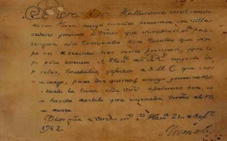 Feli Fotocopia del documento amenazante enviado por el general británico Albemarle al cabildo de Santa Clara Cristobal de Moya.