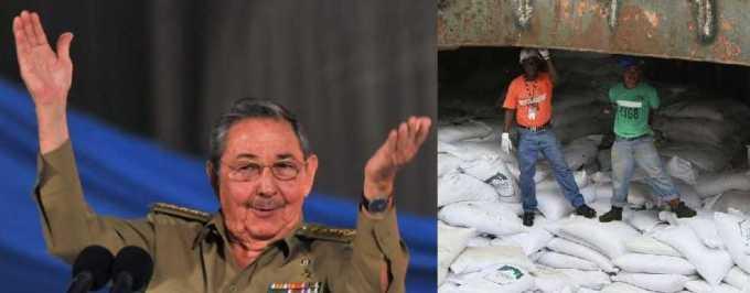 Raúl castro eufórico, da lecciones de moralidad a su pueblo, mientras práctica el contrabando de armas, debajo de los sacos de azúcar que niega a su pueblo.