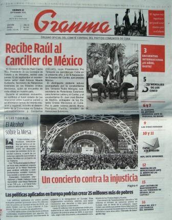 El periódico Granma es el órgano oficial del Comité Central del Partido Comunista de Cuba.